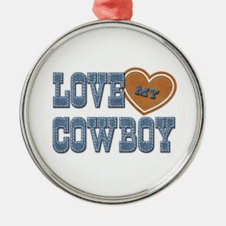 Ame a mi vaquero adorno navideño redondo de metal