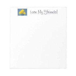 ¡Ame a mis amigos! el narciso de las libretas flor Blocs De Notas