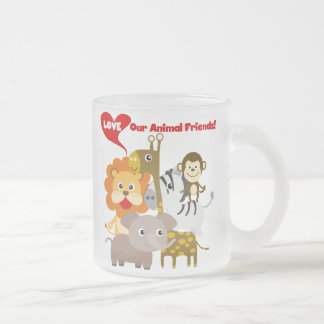 Ame a nuestros amigos animales taza cristal mate