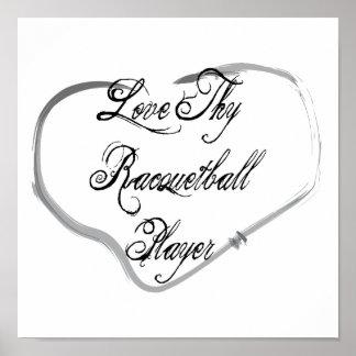 Ame a Thy jugador del Racquetball Impresiones
