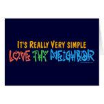 Ame a Thy vecino - corazón, signo de la paz Tarjetón