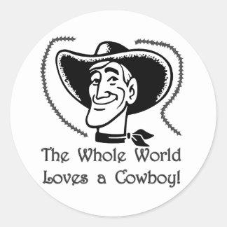 Ame a un vaquero pegatinas redondas