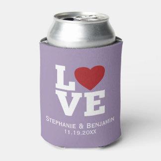 Ame con un boda personalizado corazón rojo enfriador de latas