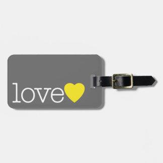 Ame con un corazón brillante y dirija/teléfono etiquetas para equipaje