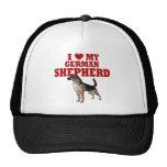 Ame (corazón) mi perro de pastor alemán gorras