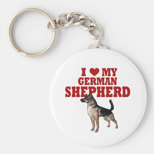 Ame (corazón) mi perro de pastor alemán llavero