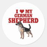 Ame (corazón) mi perro de pastor alemán pegatina redonda