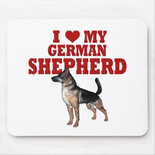 Ame (corazón) mi perro de pastor alemán alfombrilla de raton