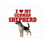 Ame (corazón) mi perro de pastor alemán tarjetas postales