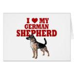Ame (corazón) mi perro de pastor alemán tarjetas