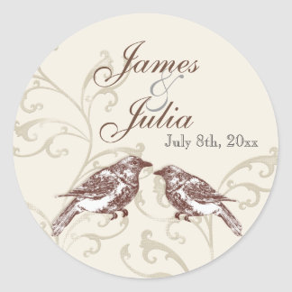 Ame cordón de n de los pájaros '- sello del boda pegatina redonda