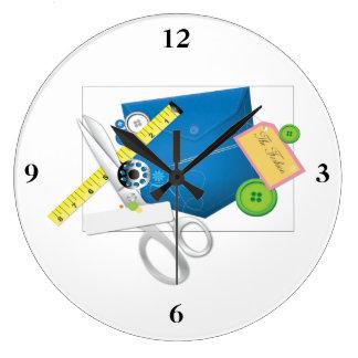 Ame coser y coserlo va reloj redondo grande