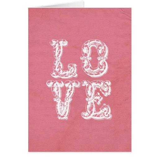 AME el arte de la palabra en fondo rosado apenado Tarjeta De Felicitación