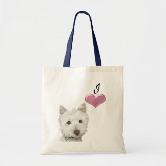 Ame el arte lindo del perro de Westie con el coraz Bolsas