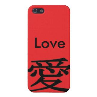 Ame el carácter chino del iPhone 4 del amor negro iPhone 5 Funda