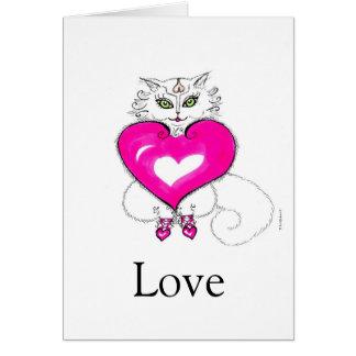 """Ame    el corazón Nevado del """"Gatito-Gato Hearted Tarjeta De Felicitación"""