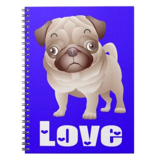Ame el cuaderno/el diario azules del perro de libros de apuntes
