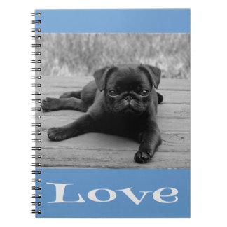 Ame el cuaderno/el diario azules del perro de perr libro de apuntes con espiral