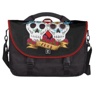 Ame el día de los cráneos del bolso muerto del via bolsas para ordenador