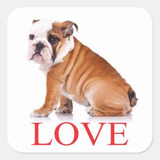 Ame el pegatina/el sello ingleses del perro de pegatina cuadrada