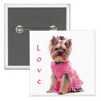 Ame el Pin del perro de perrito de Yorshire Terrie Pin Cuadrada 5 Cm