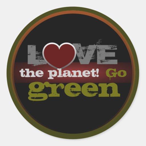 Ame el planeta van pegatina verde