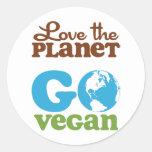 Ame el planeta van vegano etiqueta