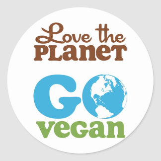 Ame el planeta van vegano etiqueta redonda