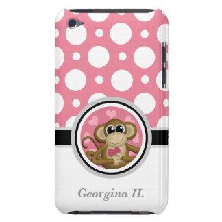 Ame el tacto rosado y blanco 4G del mono del lunar iPod Touch Case-Mate Funda