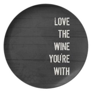 Ame el vino que usted está con la placa platos de comidas