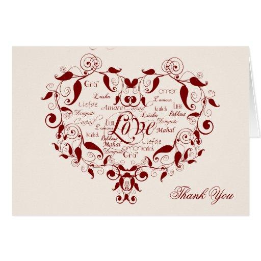 Ame en cualquier lengua en rojo le agradecen tarjeta de felicitación