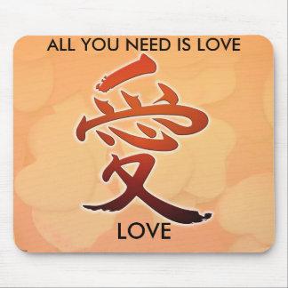 ame en el AMOR japonés de la escritura, TODO USTED Tapete De Ratón
