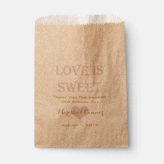 Ame es oro dulce y se ruboriza los bolsos del boda bolsa de papel