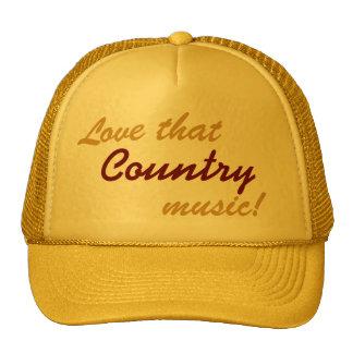 Ame esa música country - gorra del camionero de la