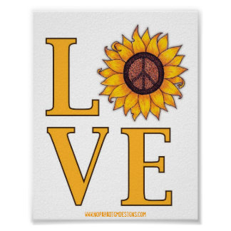 Ame ese poster del signo de la paz del girasol