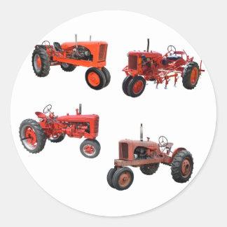 Ame esos tractores rojos viejos pegatina redonda