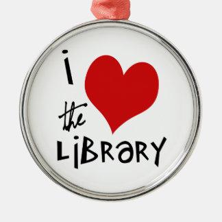 Ame la biblioteca adorno navideño redondo de metal