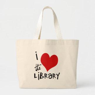 Ame la biblioteca bolsa tela grande