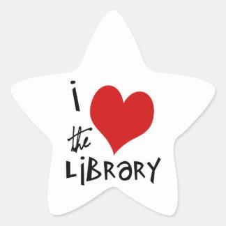 Ame la biblioteca pegatina en forma de estrella