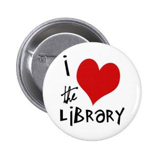 Ame la biblioteca pin redondo de 2 pulgadas