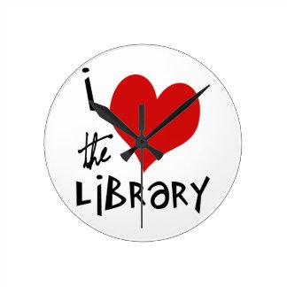 Ame la biblioteca reloj de pared