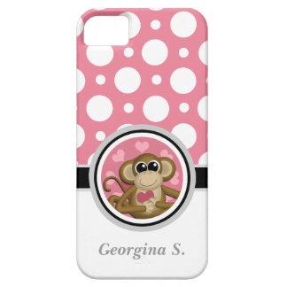 Ame la caja rosada y blanca del mono del lunar del iPhone 5 Case-Mate protectores