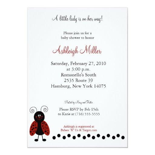 """Ame la fiesta de bienvenida al bebé negra y roja invitación 5"""" x 7"""""""