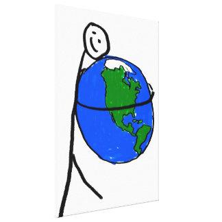 Ame la madre tierra, el dibujo del niño, tierra de lona envuelta para galerías