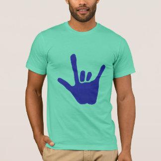 Ame la mano, lenguaje de signos, en azul, camiseta