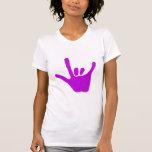 Ame la mano, lenguaje de signos en la púrpura, camiseta