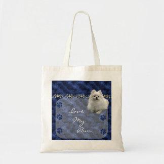 Ame la mi bolsa de asas de Pom Pomeranian - azul