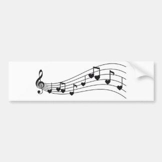 ame la música, las notas musicales rojas con los c pegatina para auto