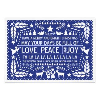 """Ame la paz, navidad del azul del picado del papel invitación 5"""" x 7"""""""