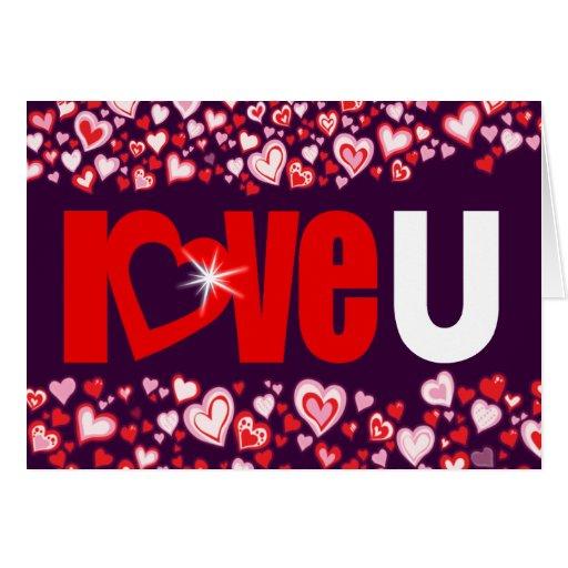 Ame la tarjeta roja y púrpura del corazón del diam